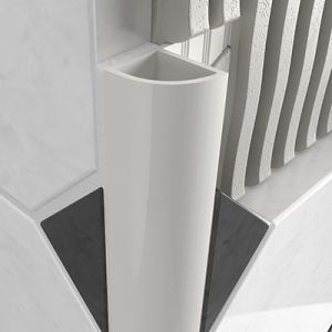PVC Round Edge Closed Profile - White 8mm