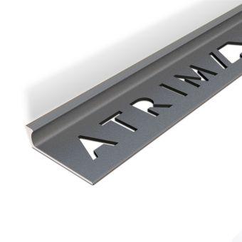 Atrim Basalt Coated Effect Aluminium Straight Edge Tile Trim - 2.5m